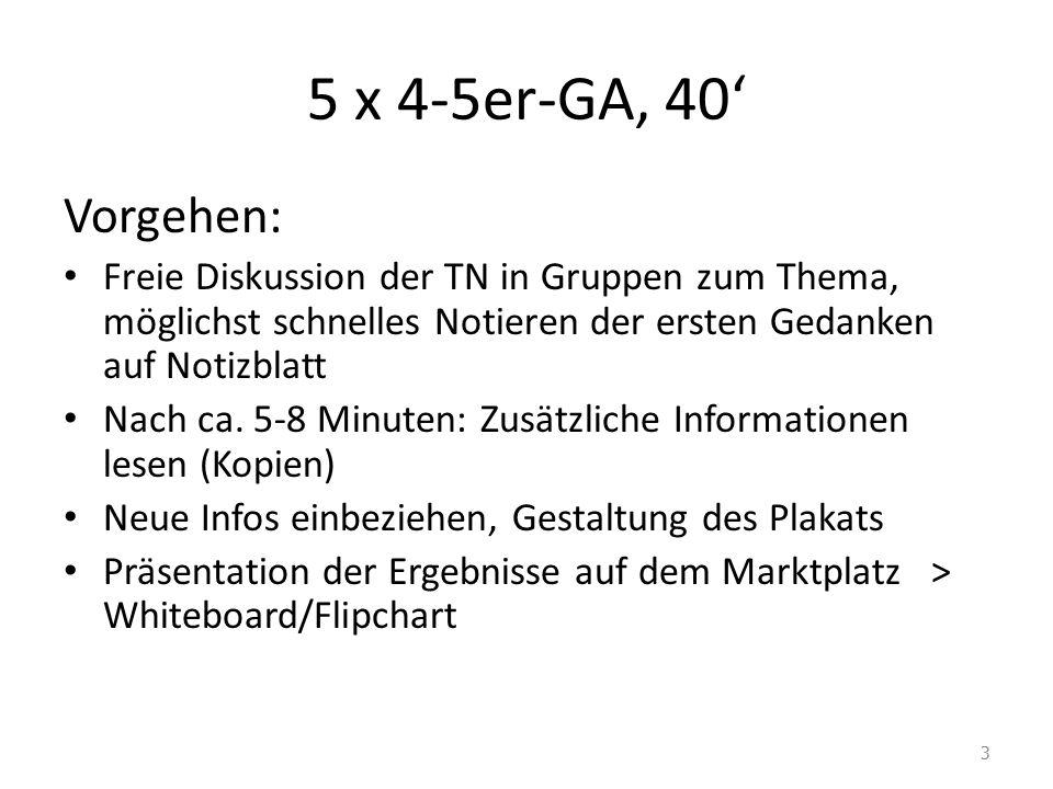 5 x 4-5er-GA, 40' Vorgehen: Freie Diskussion der TN in Gruppen zum Thema, möglichst schnelles Notieren der ersten Gedanken auf Notizblatt Nach ca.