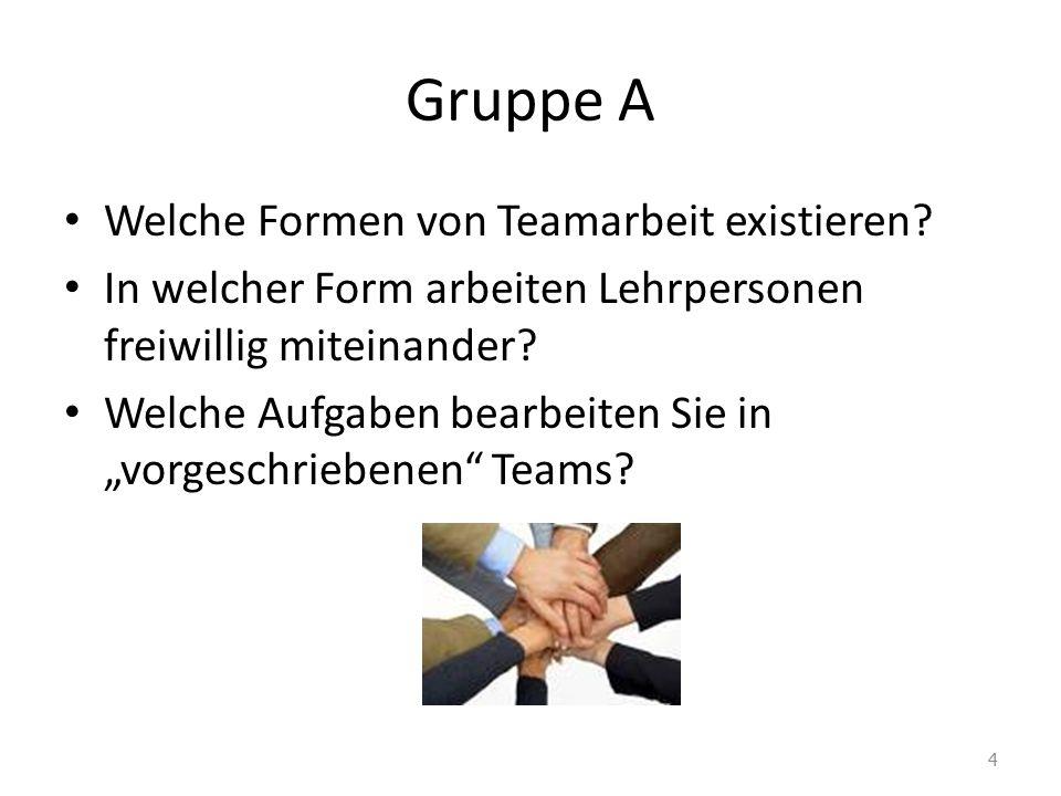"""Gruppe A Welche Formen von Teamarbeit existieren? In welcher Form arbeiten Lehrpersonen freiwillig miteinander? Welche Aufgaben bearbeiten Sie in """"vor"""