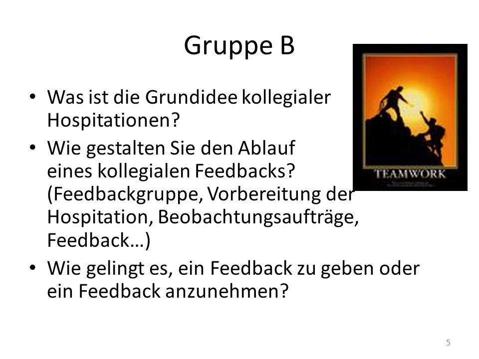 Gruppe B Was ist die Grundidee kollegialer Hospitationen? Wie gestalten Sie den Ablauf eines kollegialen Feedbacks? (Feedbackgruppe, Vorbereitung der