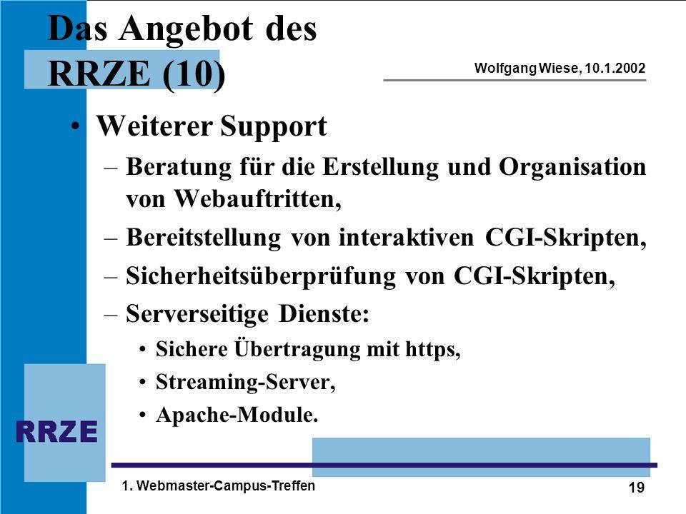 19 Wolfgang Wiese, 10.1.2002 1. Webmaster-Campus-Treffen Das Angebot des RRZE (10) Weiterer Support –Beratung für die Erstellung und Organisation von