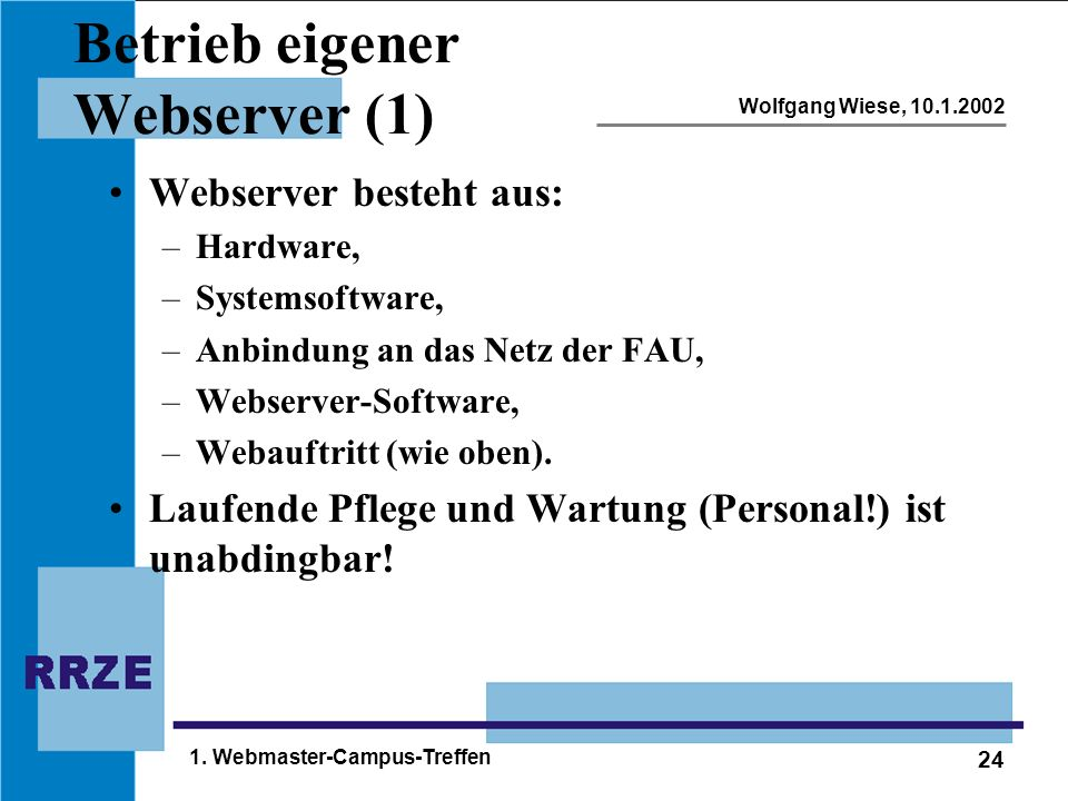 24 Wolfgang Wiese, 10.1.2002 1. Webmaster-Campus-Treffen Betrieb eigener Webserver (1) Webserver besteht aus: –Hardware, –Systemsoftware, –Anbindung a
