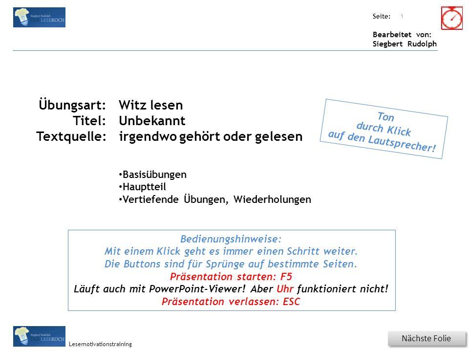 Übungsart: Seite: Bearbeitet von: Siegbert Rudolph Lesemotivationstraining 11 Wiederholung - Da stimmt was nicht.