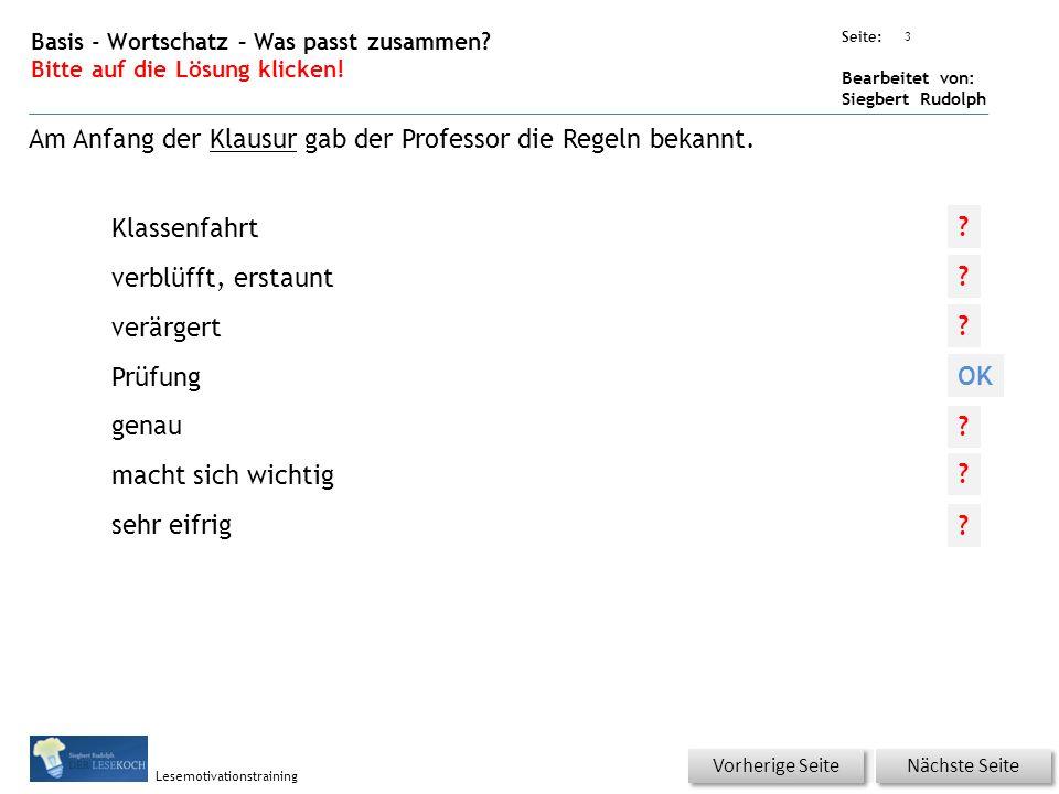 Übungsart: Seite: Bearbeitet von: Siegbert Rudolph Lesemotivationstraining 3 Basis - Wortschatz – Was passt zusammen.