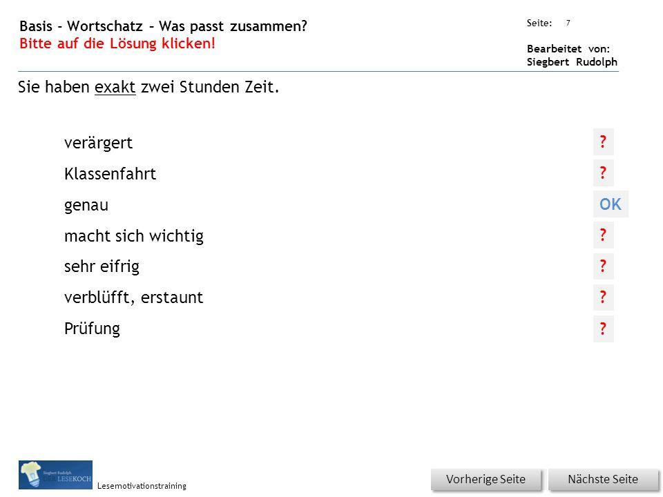 Übungsart: Seite: Bearbeitet von: Siegbert Rudolph Lesemotivationstraining 6 Basis - Wortschatz – Was passt zusammen.