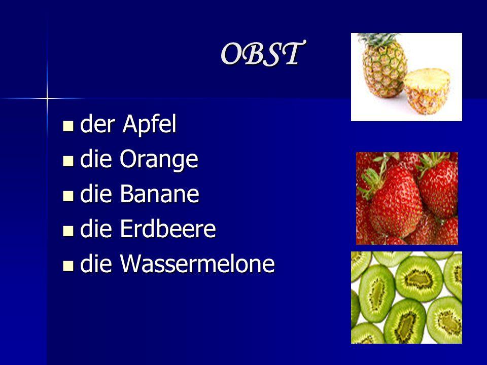 OBST der Apfel der Apfel die Orange die Orange die Banane die Banane die Erdbeere die Erdbeere die Wassermelone die Wassermelone