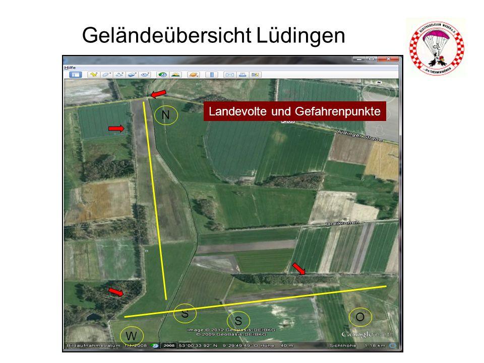 Geländeübersicht Lüdingen N S S O W Landevolte und Gefahrenpunkte