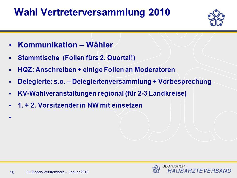 10 LV Baden-Württemberg - Januar 2010 Wahl Vertreterversammlung 2010  Kommunikation – Wähler  Stammtische (Folien fürs 2. Quartal!)  HQZ: Anschreib