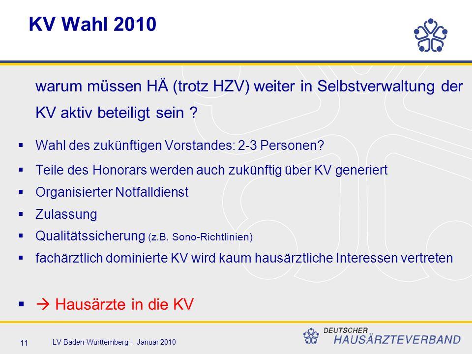 11 LV Baden-Württemberg - Januar 2010 KV Wahl 2010 warum müssen HÄ (trotz HZV) weiter in Selbstverwaltung der KV aktiv beteiligt sein ?  Wahl des zuk