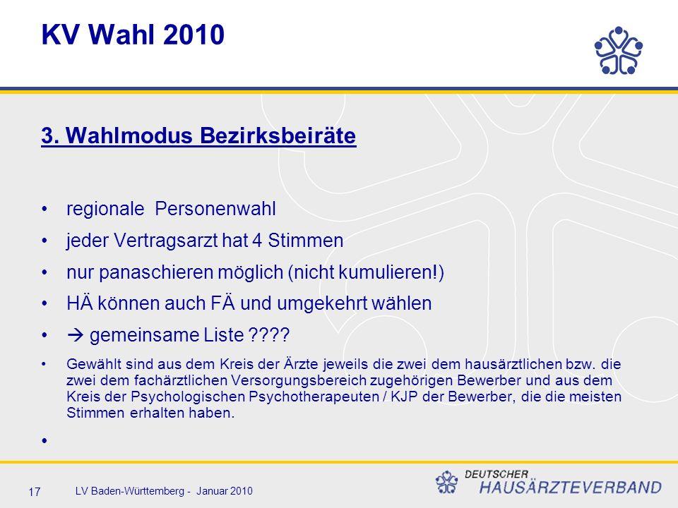 17 LV Baden-Württemberg - Januar 2010 KV Wahl 2010 3. Wahlmodus Bezirksbeiräte regionale Personenwahl jeder Vertragsarzt hat 4 Stimmen nur panaschiere