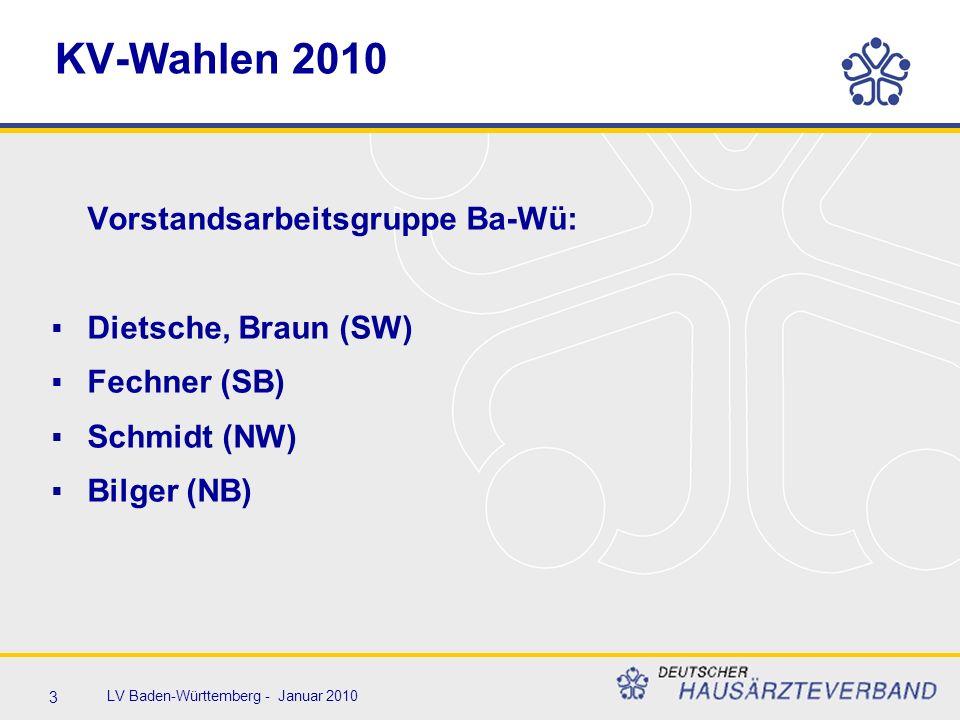14 LV Baden-Württemberg - Januar 2010 Wahl Bezirksbeiräte 2010  5 Sitze, davon 1 psychologischer Psychotherapeut  2 Hausärzte – 2 Fachärzte  Jeder Arzt hat 4 Stimmen  Bezirksweite Wahl  Persönlichkeitswahl