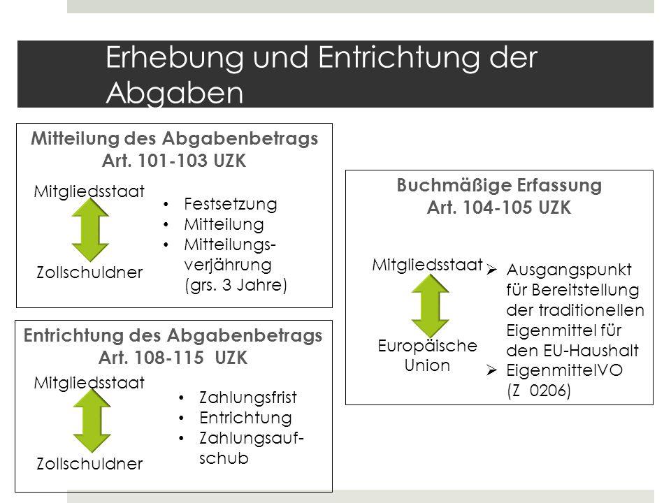 Erhebung und Entrichtung der Abgaben Mitteilung des Abgabenbetrags Art. 101-103 UZK Buchmäßige Erfassung Art. 104-105 UZK Entrichtung des Abgabenbetra