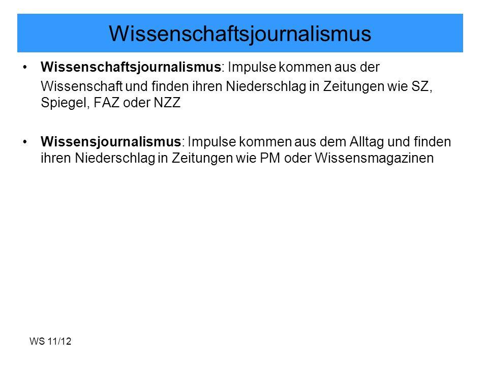 WS 11/12 Wissenschaftsjournalismus Wissenschaftsjournalismus: Impulse kommen aus der Wissenschaft und finden ihren Niederschlag in Zeitungen wie SZ, S