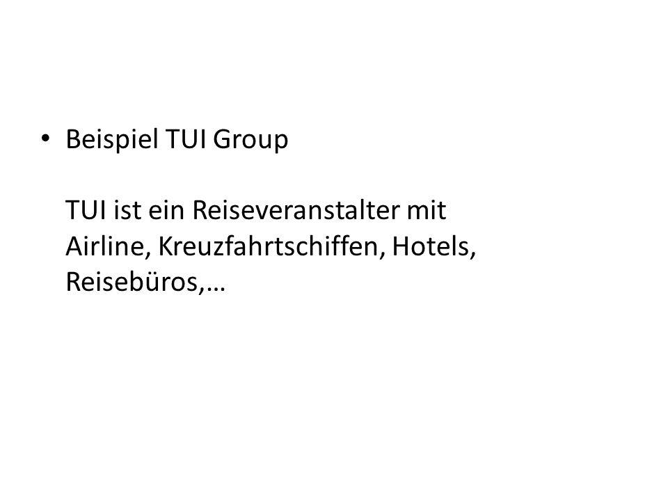 Beispiel TUI Group TUI ist ein Reiseveranstalter mit Airline, Kreuzfahrtschiffen, Hotels, Reisebüros,…