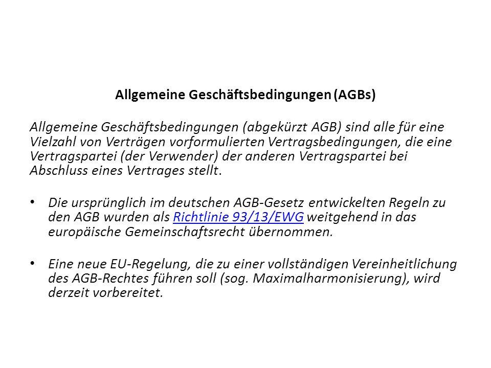 Allgemeine Geschäftsbedingungen (AGBs) Allgemeine Geschäftsbedingungen (abgekürzt AGB) sind alle für eine Vielzahl von Verträgen vorformulierten Vertragsbedingungen, die eine Vertragspartei (der Verwender) der anderen Vertragspartei bei Abschluss eines Vertrages stellt.