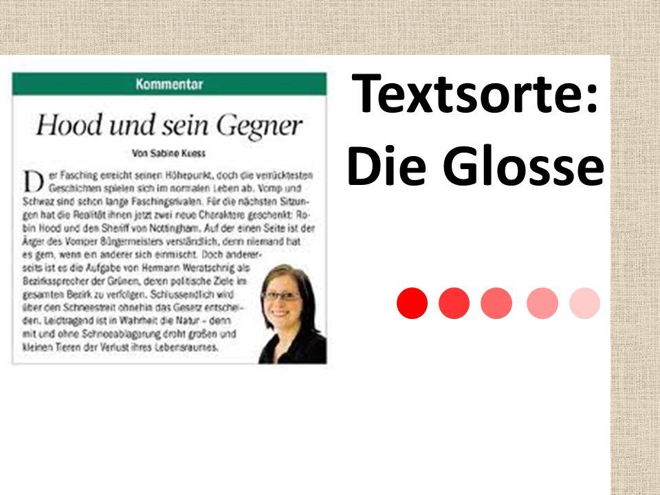 Textsorte: Die Glosse