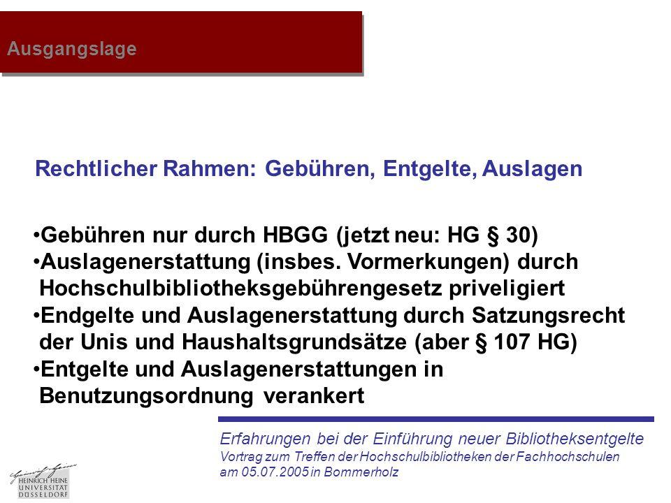 Erfahrungen bei der Einführung neuer Bibliotheksentgelte Vortrag zum Treffen der Hochschulbibliotheken der Fachhochschulen am 05.07.2005 in Bommerholz Ausgangslage Rechtlicher Rahmen: Gebühren, Entgelte, Auslagen Gebühren nur durch HBGG (jetzt neu: HG § 30) Auslagenerstattung (insbes.