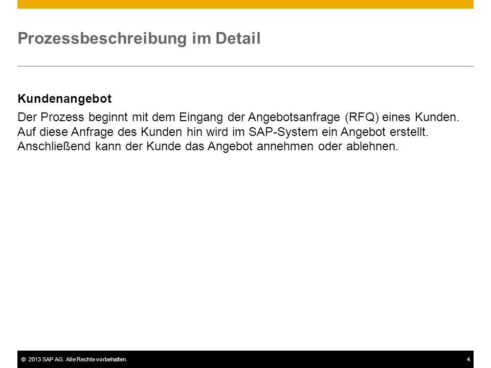©2013 SAP AG. Alle Rechte vorbehalten.4 Prozessbeschreibung im Detail Kundenangebot Der Prozess beginnt mit dem Eingang der Angebotsanfrage (RFQ) eine