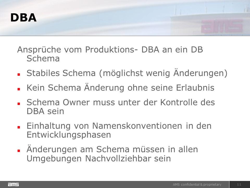 AMS confidential & proprietary 11 DBA Ansprüche vom Produktions- DBA an ein DB Schema Stabiles Schema (möglichst wenig Änderungen) Kein Schema Änderung ohne seine Erlaubnis Schema Owner muss unter der Kontrolle des DBA sein Einhaltung von Namenskonventionen in den Entwicklungsphasen Änderungen am Schema müssen in allen Umgebungen Nachvollziehbar sein