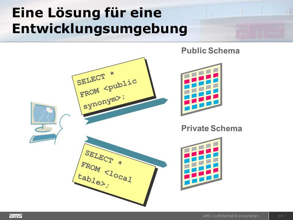 AMS confidential & proprietary 14 Eine Lösung für eine Entwicklungsumgebung Public Schema SELECT * FROM ; SELECT * FROM ; SELECT * FROM ; SELECT * FROM ; Private Schema
