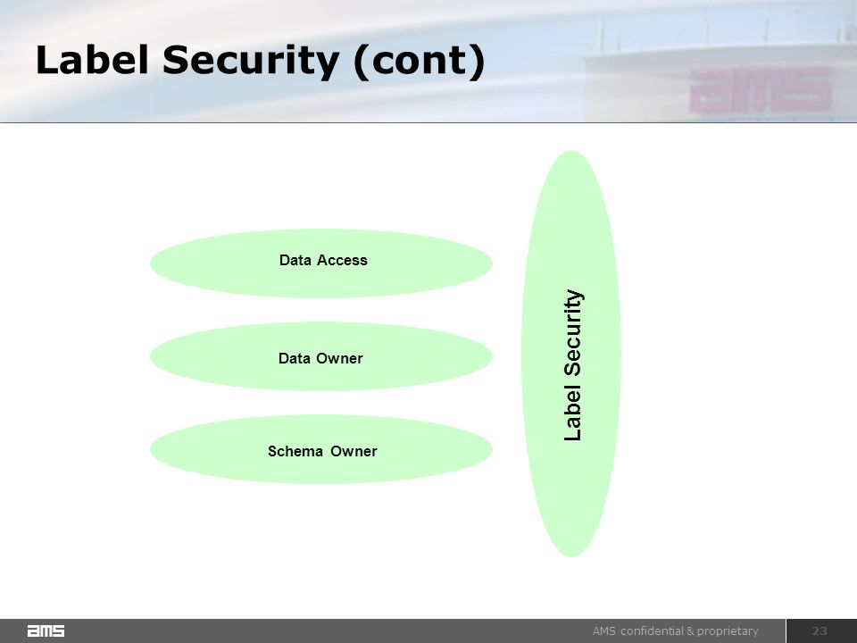 AMS confidential & proprietary 23 Label Security (cont) Data Owner Schema Owner Label Security Data Access