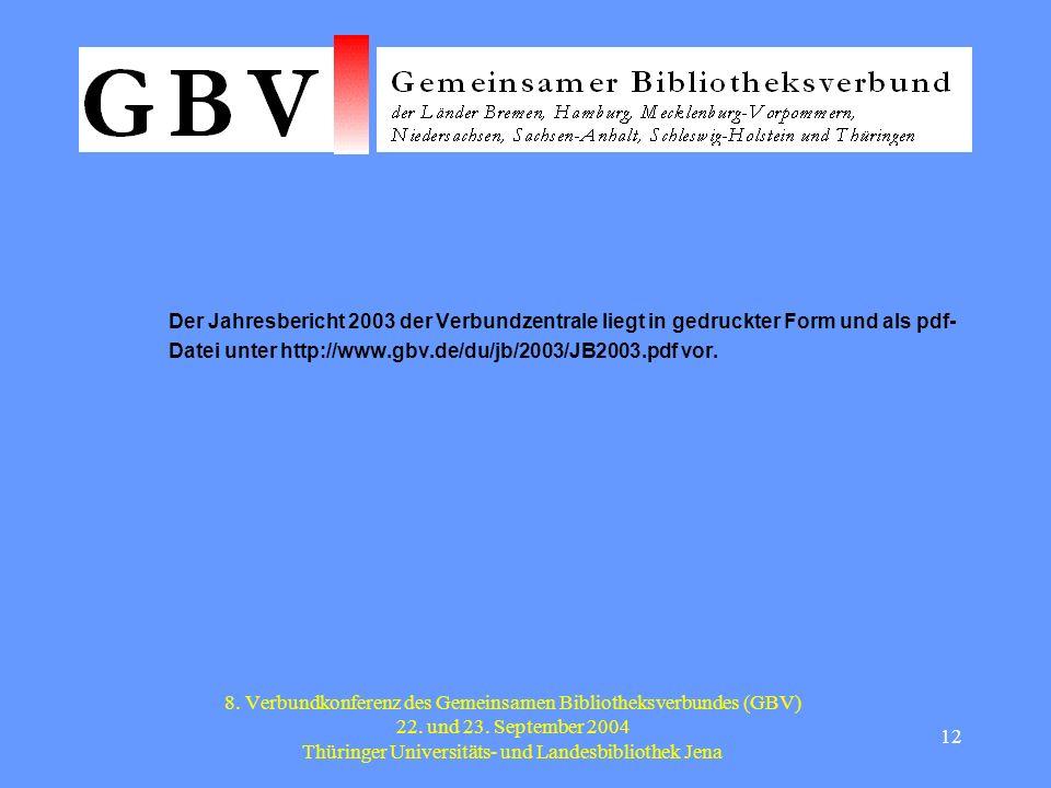 12 8. Verbundkonferenz des Gemeinsamen Bibliotheksverbundes (GBV) 22.