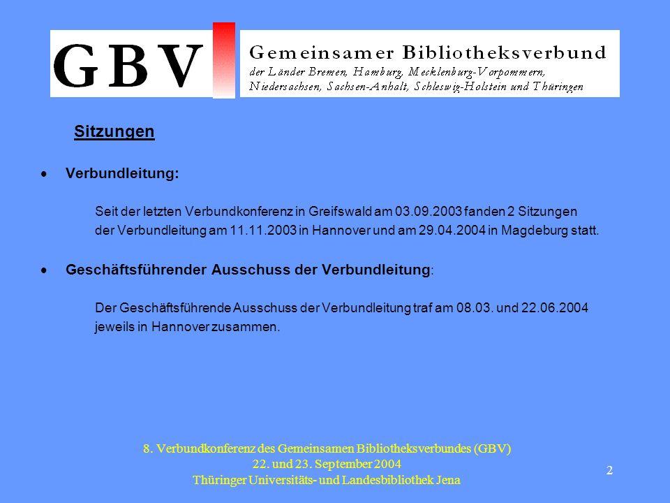 3 8.Verbundkonferenz des Gemeinsamen Bibliotheksverbundes (GBV) 22.