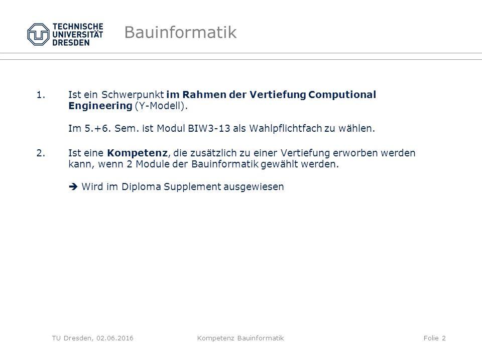 Bauinformatik 1.Ist ein Schwerpunkt im Rahmen der Vertiefung Computional Engineering (Y-Modell).