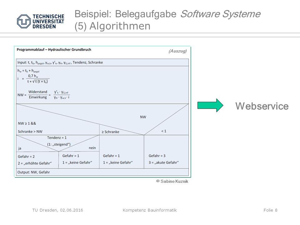 Webservice Beispiel: Belegaufgabe Software Systeme (5) Algorithmen TU Dresden, 02.06.2016Kompetenz BauinformatikFolie 8 © Sabine Kuznik (Auszug)
