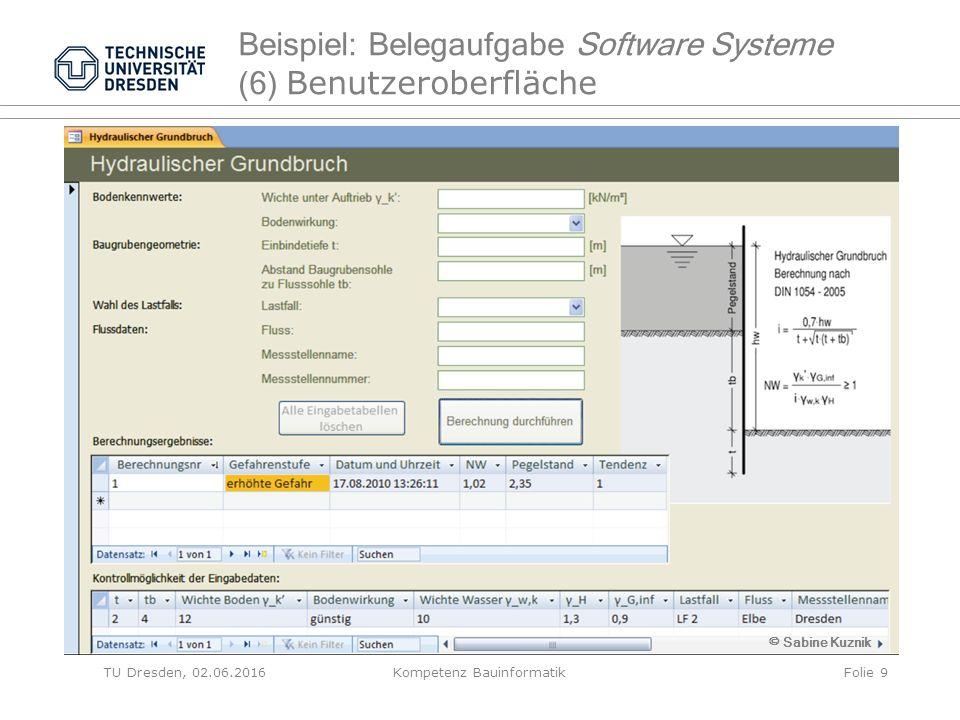 TU Dresden, 02.06.2016Kompetenz BauinformatikFolie 9 Beispiel: Belegaufgabe Software Systeme (6) Benutzeroberfläche © Sabine Kuznik