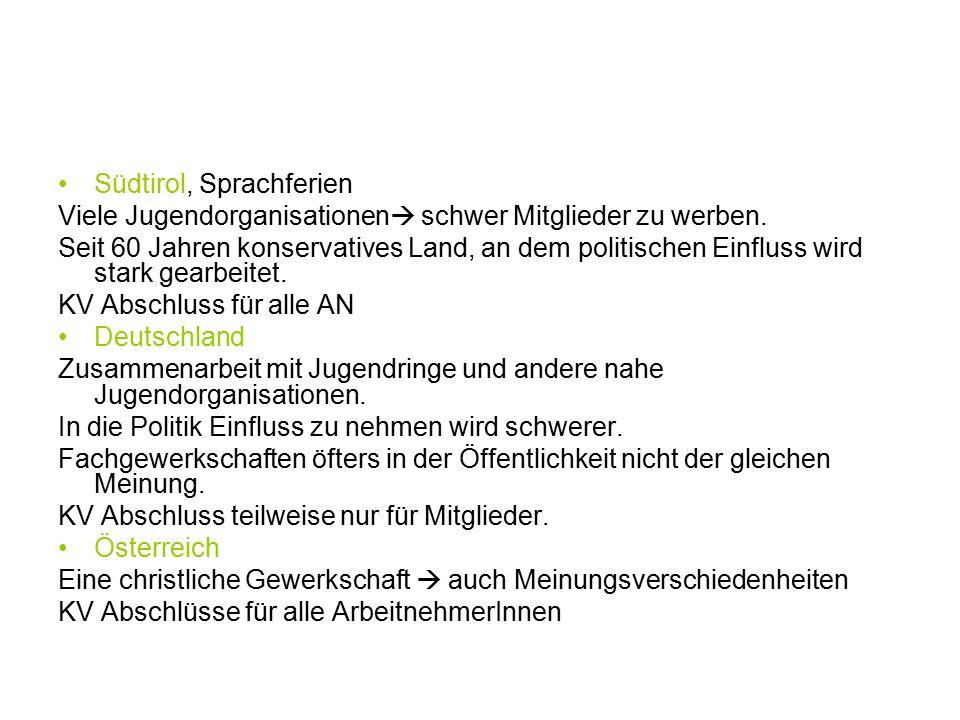 Südtirol, Sprachferien Viele Jugendorganisationen  schwer Mitglieder zu werben.