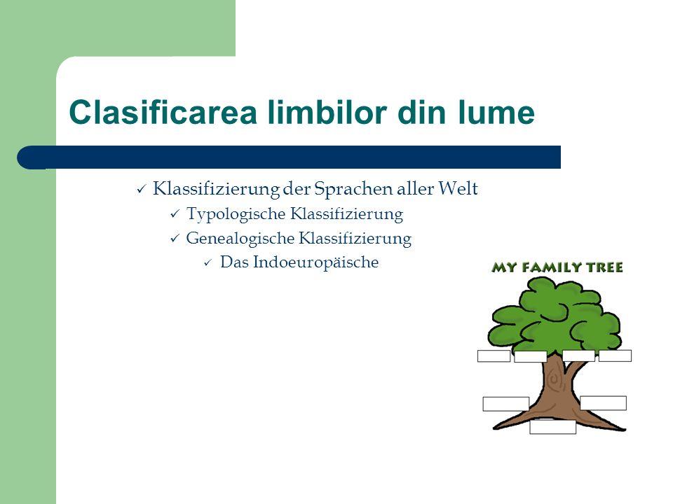 Clasificarea limbilor din lume Klassifizierung der Sprachen aller Welt Typologische Klassifizierung Genealogische Klassifizierung Das Indoeuropäische
