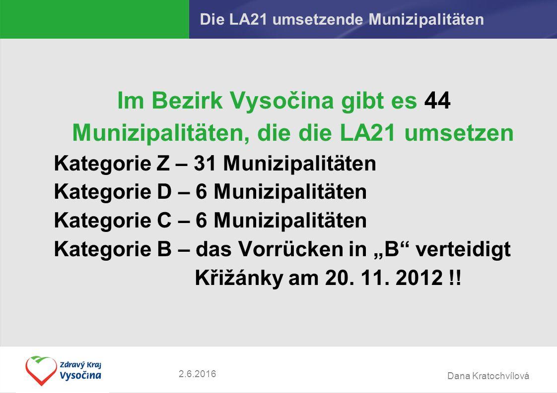"""Dana Kratochvílová Die LA21 umsetzende Munizipalitäten Im Bezirk Vysočina gibt es 44 Munizipalitäten, die die LA21 umsetzen Kategorie Z – 31 Munizipalitäten Kategorie D – 6 Munizipalitäten Kategorie C – 6 Munizipalitäten Kategorie B – das Vorrücken in """"B verteidigt Křižánky am 20."""