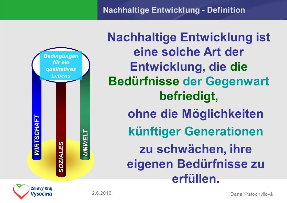 Dana Kratochvílová 2.6.2016 Nachhaltige Entwicklung - Definition Nachhaltige Entwicklung ist eine solche Art der Entwicklung, die die Bedürfnisse der Gegenwart befriedigt, ohne die Möglichkeiten künftiger Generationen zu schwächen, ihre eigenen Bedürfnisse zu erfüllen.