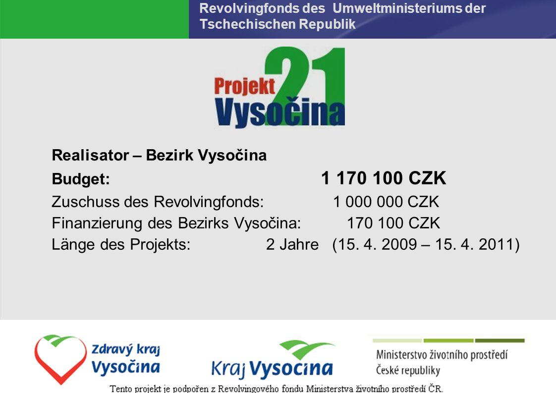 Dana Kratochvílová 2.6.2016 Revolvingfonds des Umweltministeriums der Tschechischen Republik Realisator – Bezirk Vysočina Budget: 1 170 100 CZK Zuschuss des Revolvingfonds: 1 000 000 CZK Finanzierung des Bezirks Vysočina: 170 100 CZK Länge des Projekts: 2 Jahre (15.