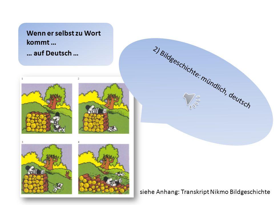 1) Spontansprache (Freizeit, Hobbys …): mündlich, deutsch Wenn er selbst zu Wort kommt … … auf Deutsch … siehe Anhang: Transkript Nikmo Spontansprache