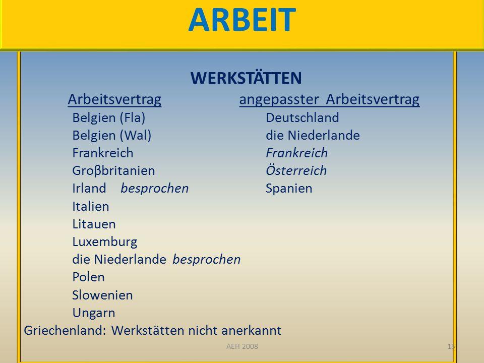 DEUXIEME CONSTAT WERKSTÄTTEN Arbeitsvertrag angepasster Arbeitsvertrag Belgien (Fla)Deutschland Belgien (Wal)die NiederlandeFrankreich GroβbritanienÖsterreich IrlandbesprochenSpanien Italien Litauen Luxemburg die Niederlande besprochen Polen Slowenien Ungarn Griechenland: Werkstätten nicht anerkannt 15 ARBEIT AEH 2008