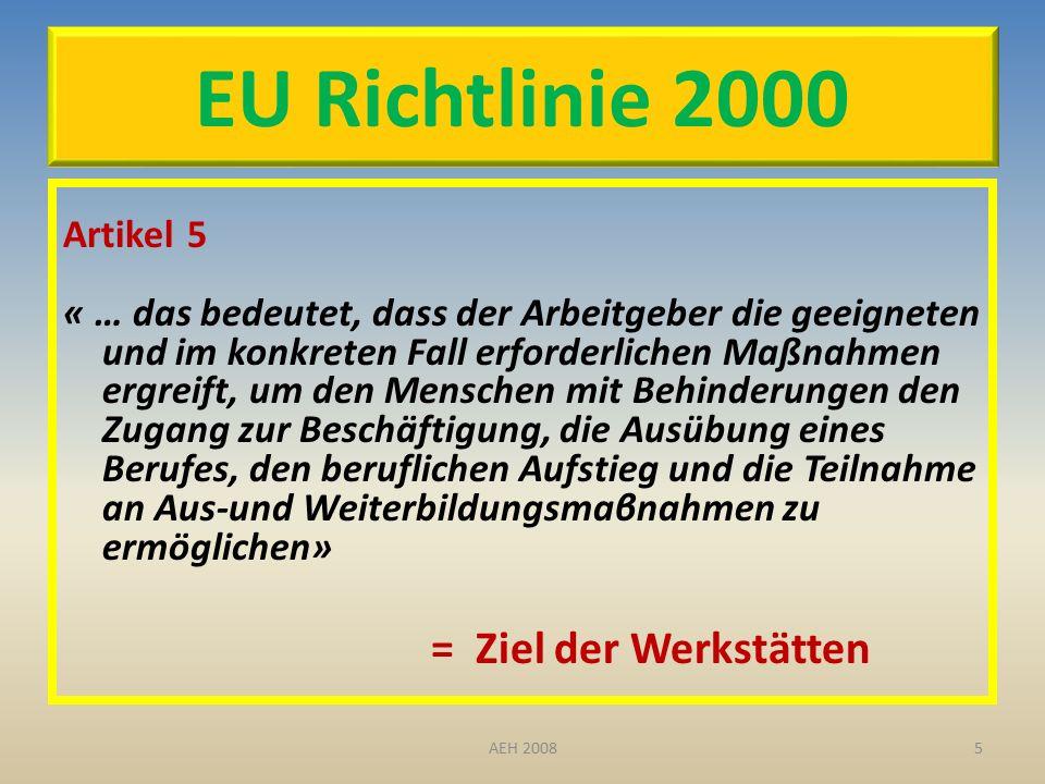 EU Richtlinie 2000 Artikel 5 « … das bedeutet, dass der Arbeitgeber die geeigneten und im konkreten Fall erforderlichen Maßnahmen ergreift, um den Menschen mit Behinderungen den Zugang zur Beschäftigung, die Ausübung eines Berufes, den beruflichen Aufstieg und die Teilnahme an Aus-und Weiterbildungsmaβnahmen zu ermöglichen» = Ziel der Werkstätten 5AEH 2008