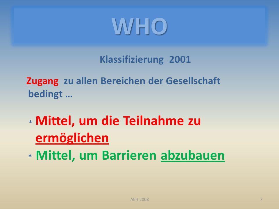 WHO Klassifizierung 2001 Zugang zu allen Bereichen der Gesellschaft bedingt … * Mittel, um die Teilnahme zu ermöglichen * Mittel, um Barrieren abzubauen 7AEH 2008