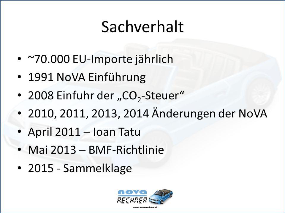 """Sachverhalt ~70.000 EU-Importe jährlich 1991 NoVA Einführung 2008 Einfuhr der """"CO 2 -Steuer 2010, 2011, 2013, 2014 Änderungen der NoVA April 2011 – Ioan Tatu Mai 2013 – BMF-Richtlinie 2015 - Sammelklage"""
