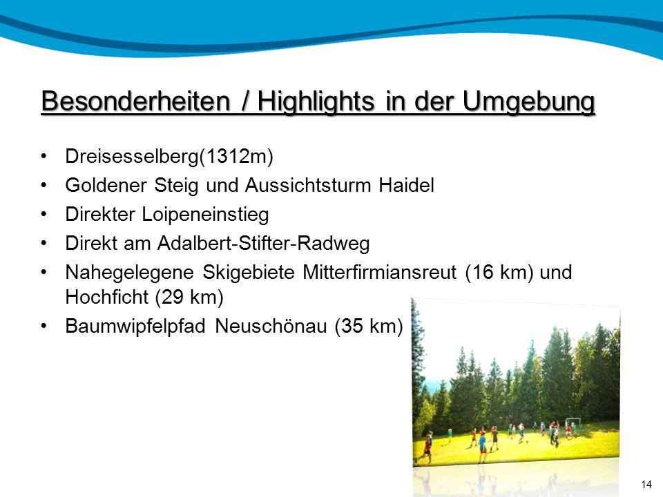 Lage der Jugendherberge Bayerns östlichste Jugendherberge mitten im Dreiländereck Deutschland, Tschechien und Österreich. Am Fuße des Dreisesselberger