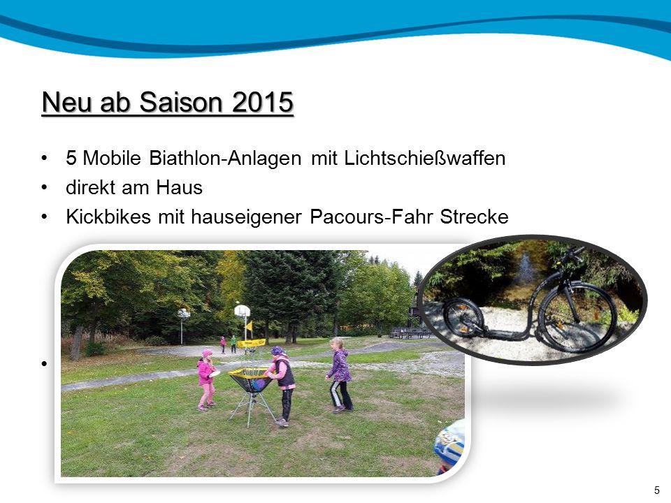 Neu ab Saison 2015 5 Mobile Biathlon-Anlagen mit Lichtschießwaffen direkt am Haus Kickbikes mit hauseigener Pacours-Fahr Strecke 5