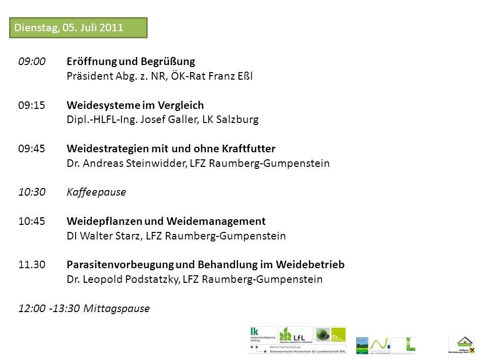 13:30 Empfehlungen zum Weidemanagement bei Kurzrasenweide in der Schweiz Prof.