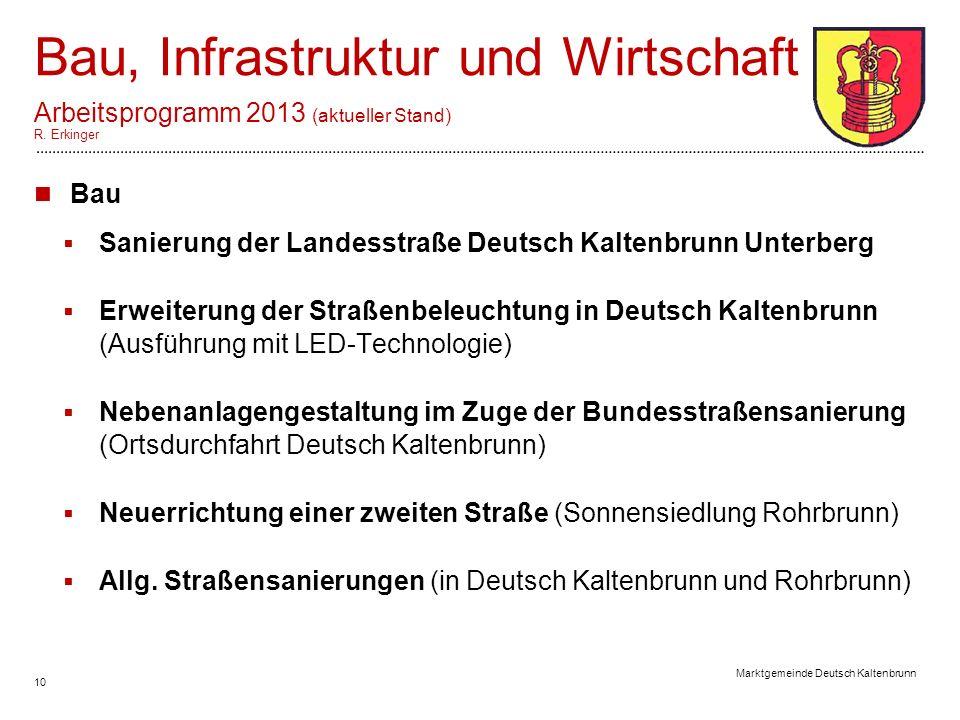 10 Marktgemeinde Deutsch Kaltenbrunn Bau, Infrastruktur und Wirtschaft Arbeitsprogramm 2013 (aktueller Stand) R.