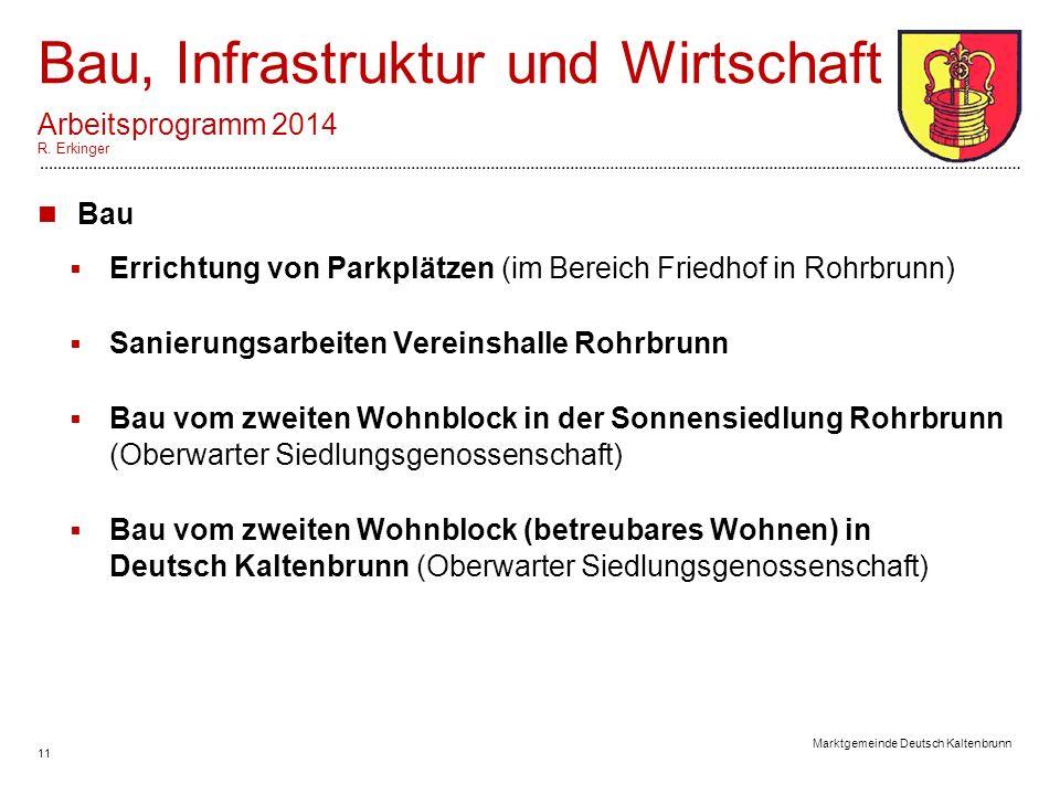 11 Marktgemeinde Deutsch Kaltenbrunn Bau, Infrastruktur und Wirtschaft Arbeitsprogramm 2014 R.