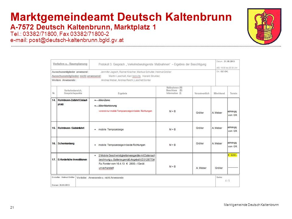 21 Marktgemeinde Deutsch Kaltenbrunn Marktgemeindeamt Deutsch Kaltenbrunn A-7572 Deutsch Kaltenbrunn, Marktplatz 1 Tel.: 03382/71800, Fax 03382/71800-2 e-mail: post@deutsch-kaltenbrunn.bgld.gv.at