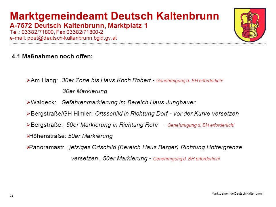 24 Marktgemeinde Deutsch Kaltenbrunn Marktgemeindeamt Deutsch Kaltenbrunn A-7572 Deutsch Kaltenbrunn, Marktplatz 1 Tel.: 03382/71800, Fax 03382/71800-2 e-mail: post@deutsch-kaltenbrunn.bgld.gv.at 4.1 Maßnahmen noch offen:  Am Hang: 30er Zone bis Haus Koch Robert - Genehmigung d.