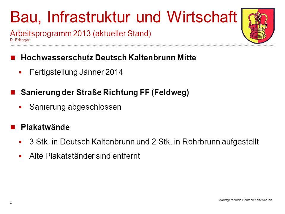 8 Marktgemeinde Deutsch Kaltenbrunn Bau, Infrastruktur und Wirtschaft Arbeitsprogramm 2013 (aktueller Stand) R.
