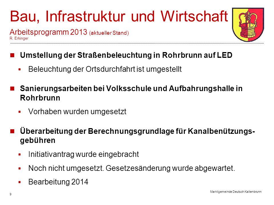 9 Marktgemeinde Deutsch Kaltenbrunn Bau, Infrastruktur und Wirtschaft Arbeitsprogramm 2013 (aktueller Stand) R.