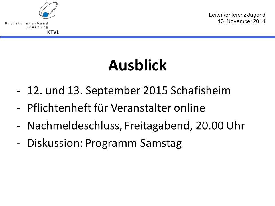 Leiterkonferenz Jugend 13. November 2014 Ausblick -12. und 13. September 2015 Schafisheim -Pflichtenheft für Veranstalter online -Nachmeldeschluss, Fr