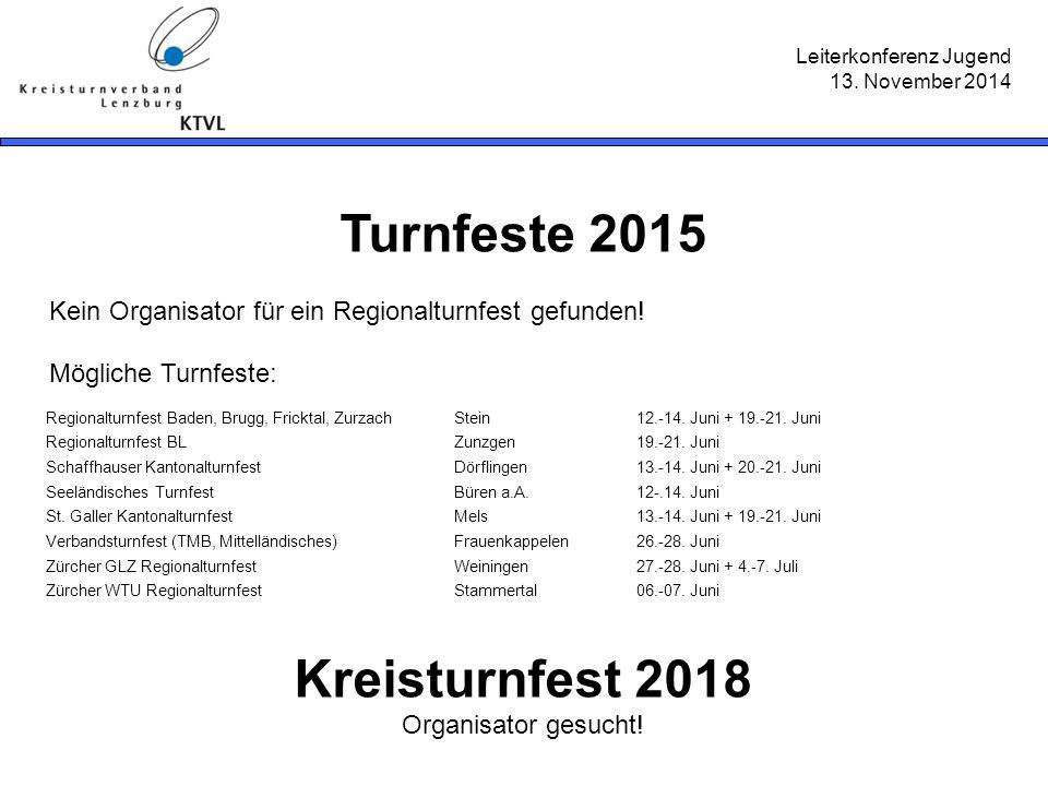 Leiterkonferenz Jugend 13. November 2014 Turnfeste 2015 Kein Organisator für ein Regionalturnfest gefunden! Mögliche Turnfeste: Kreisturnfest 2018 Org